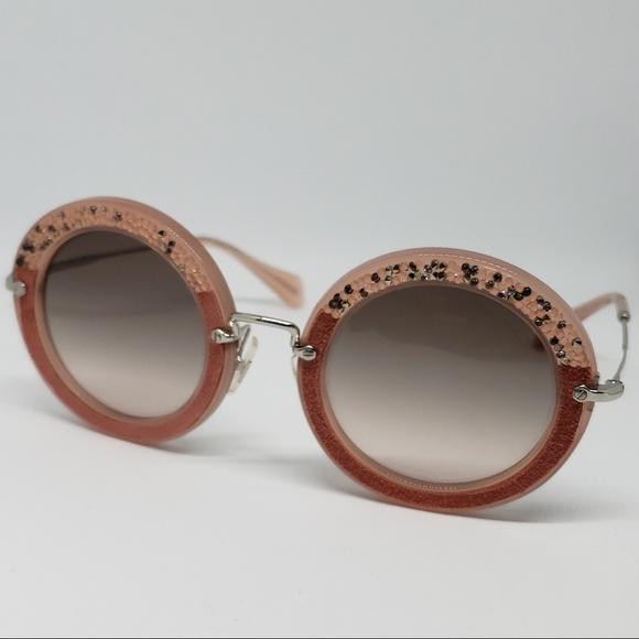 b91fed6f55b8 Miu Miu Sunglasses Pink Frame Embellished Stones